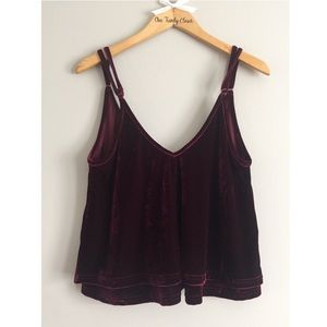 🌟 TOBI- Wine Color Velvet Crop Top Size Small